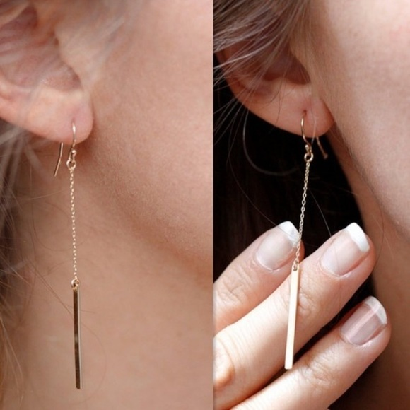 Jewelry - Bar drop earrings - gold or silver available